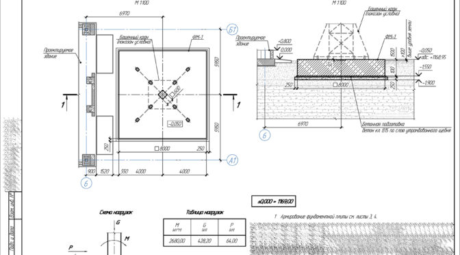 Фундамент башенного крана, чертеж фундамента крана