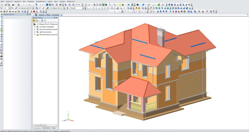 Дом в Компас 3D, Здание в Компас 3D, Модель в Компасе