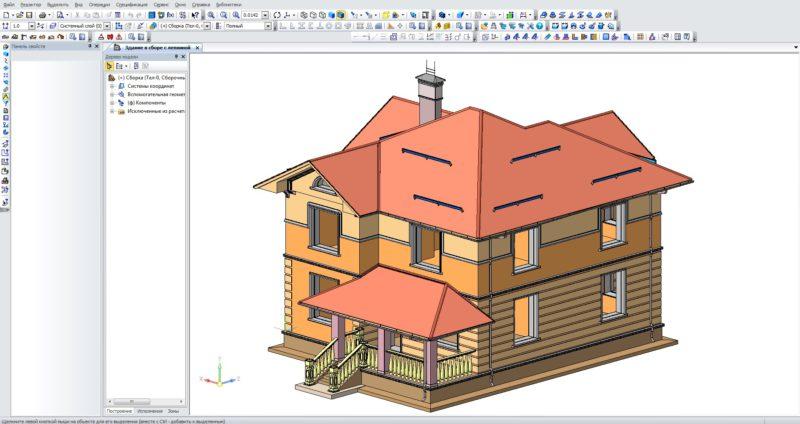 Здание в Компасе 3D, Дом в Компас 3D