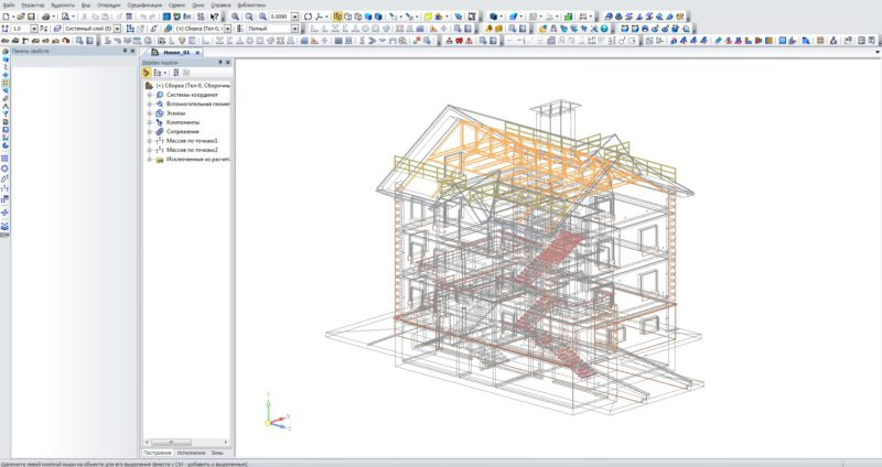 Дом в Компас 3D, 3D модель коттеджа, 3D модель здания