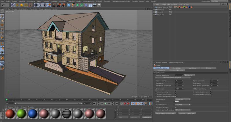 Настройка модели Компас 3D в CINEMA 4D
