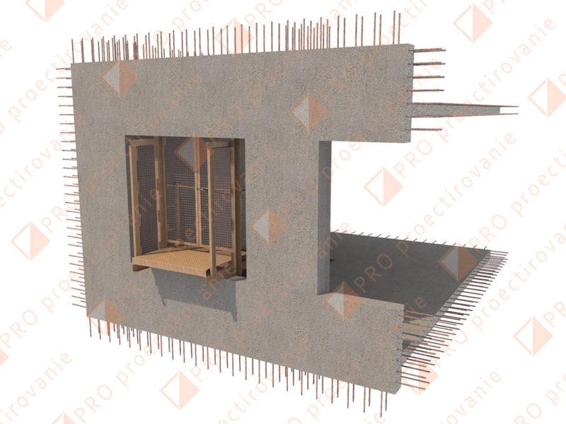 Этажная площадка, вход в здание на высоте, мачтовый подъемник