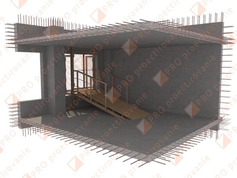 Установка этажной площадки, выход из подъемника в здание