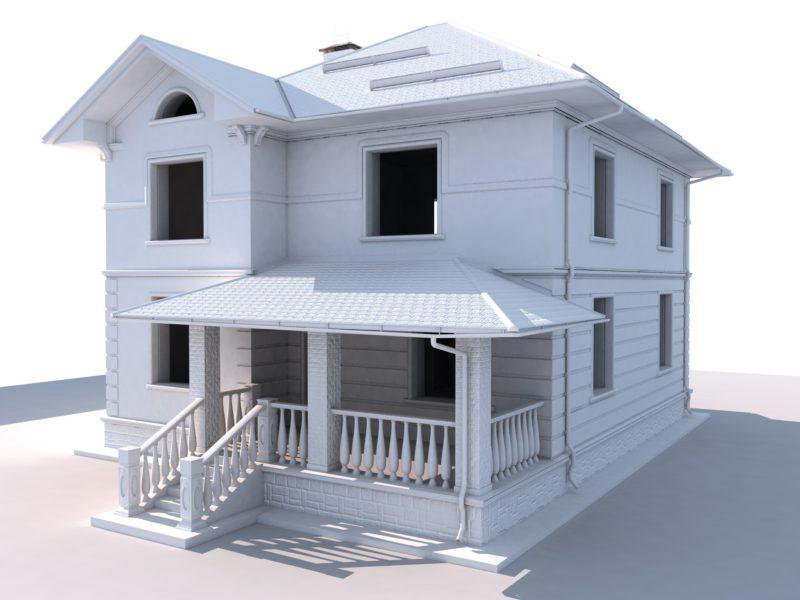 3D модель коттеджа, модель здания Компас