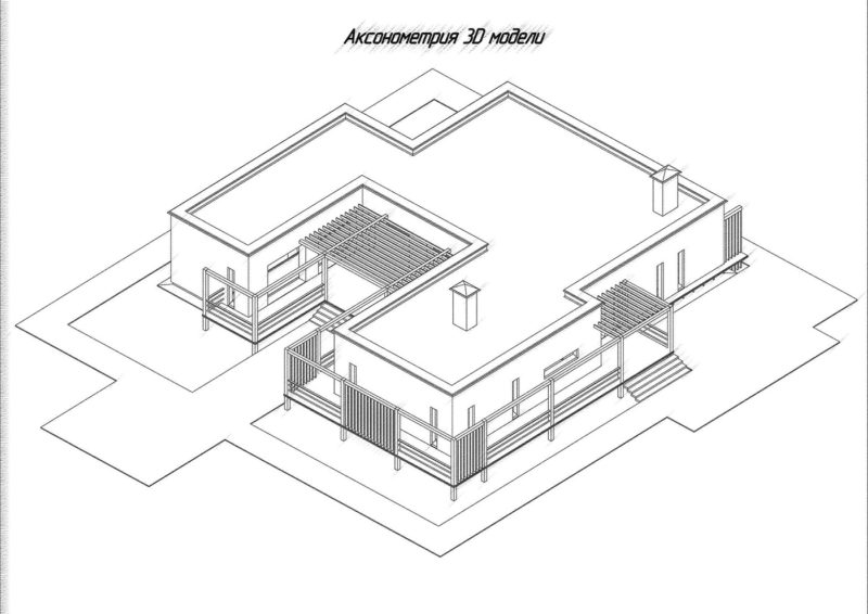 Аксонометрия здания, коттедж 3D, Компас 3D